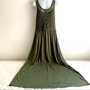 Avocado Green Sleeveless Cotton Knit Dress Crochet
